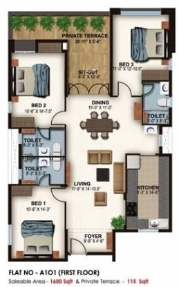 Ceebros Belvedere (3BHK+3T (1,600 sq ft) Apartment 1600 sq ft)