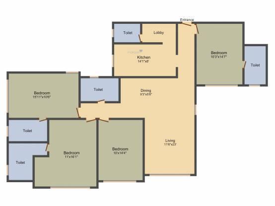 Raheja Classique (4BHK+4T (2,400 sq ft) + Servant Room Apartment 2400 sq ft)