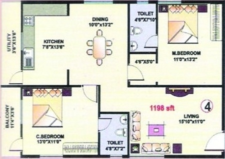 Purvi Purvi Lotus (2BHK+2T (1,198 sq ft) Apartment 1198 sq ft)