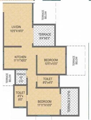 Shivam Serene Scapes (2BHK+2T (965 sq ft) Apartment 965 sq ft)