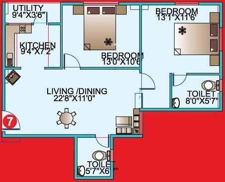Mahaveer Kings Place (2BHK+2T (998 sq ft) Apartment 998 sq ft)