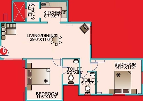 Mahaveer Kings Place (2BHK+2T (1,127 sq ft) Apartment 1127 sq ft)