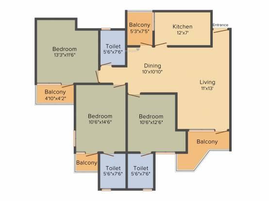 BDI Sunshine City (3BHK+3T (1,460 sq ft) Apartment 1460 sq ft)