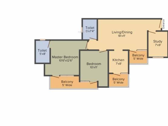 VVIP Homes (2BHK+2T (1,190 sq ft) + Study Room Apartment 1190 sq ft)