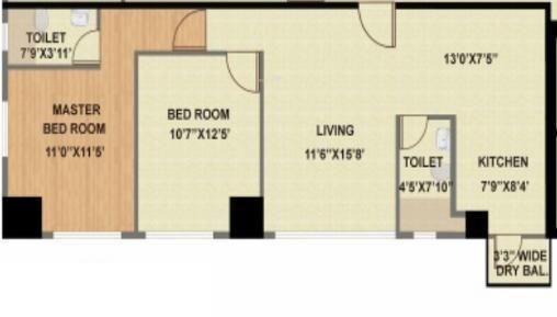 Bhattad Aurus (2BHK+2T (1,150 sq ft) Apartment 1150 sq ft)