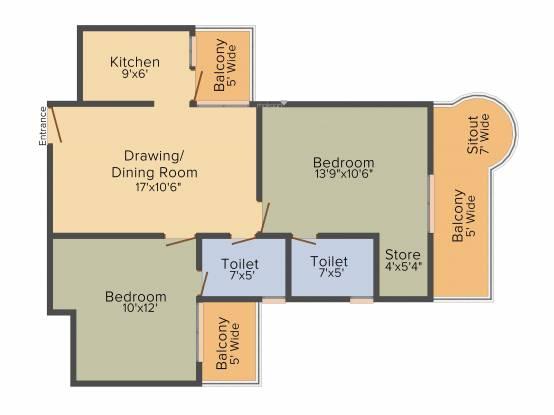 Ajnara Ambrosia (2BHK+2T (1,095 sq ft) Apartment 1095 sq ft)