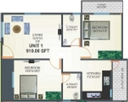 i1 United Shine Woods (2BHK+2T (910 sq ft) Apartment 910 sq ft)