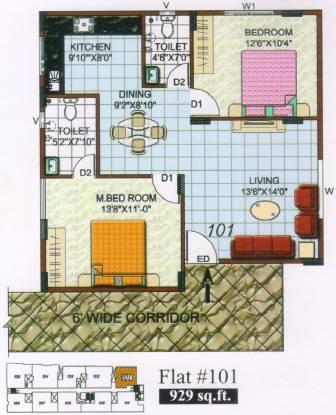 Shree Tirumala Sunidhi Desire (2BHK+2T (929 sq ft) Apartment 929 sq ft)