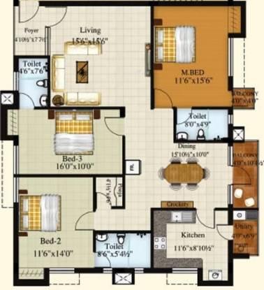 Royal Srishti (3BHK+3T (1,847 sq ft) Apartment 1847 sq ft)