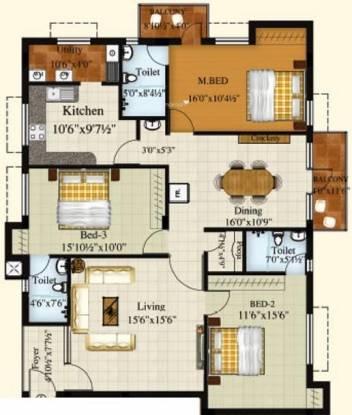 Royal Srishti (3BHK+3T (1,854 sq ft) Apartment 1854 sq ft)