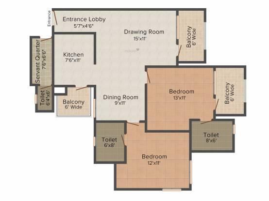 Revanta Royal Town Heights (2BHK+2T (1,250 sq ft)   Servant Room Apartment 1250 sq ft)