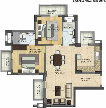 BPTP Park Grandeura (2BHK+2T (1,325 sq ft) Apartment 1325 sq ft)