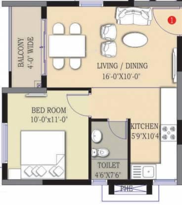 Prajay Megapolis (1BHK+1T (615 sq ft) Apartment 615 sq ft)