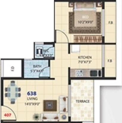 Satyam Pride (1BHK+1T (638 sq ft) Apartment 638 sq ft)