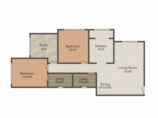 Kabra New Vinay (2BHK+2T (1,300 sq ft)   Study Room Apartment 1300 sq ft)