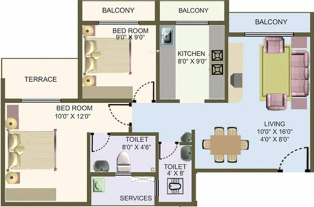 Nisarg Hyde Park (2BHK+2T (1,065 sq ft) Apartment 1065 sq ft)