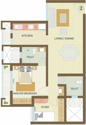Indiabulls Greens (1BHK+2T (993 sq ft) + Study Room Apartment 993 sq ft)