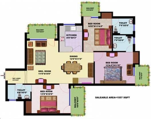 SRS SRS Residency (3BHK+3T (1,557 sq ft) Apartment 1557 sq ft)