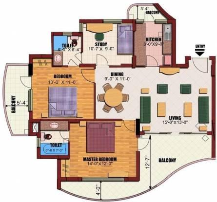 Eldeco Utopia (2BHK+2T (1,535 sq ft)   Study Room Apartment 1535 sq ft)