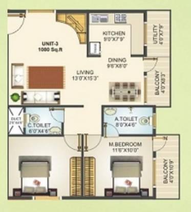 Vajra Global (2BHK+2T (1,000 sq ft) Apartment 1000 sq ft)