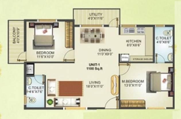 Vajra Global (2BHK+2T (1,100 sq ft) Apartment 1100 sq ft)