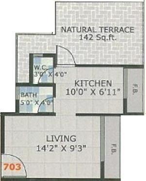 Platinum Sai Sangam (1BHK+1T (680 sq ft) Apartment 680 sq ft)