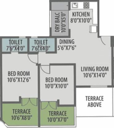Venkatesh Bliss (2BHK+2T (1,002 sq ft) Apartment 1002 sq ft)