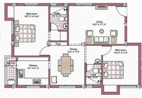 Indu Swatham (2BHK+2T (1,060 sq ft)   Pooja Room Apartment 1060 sq ft)