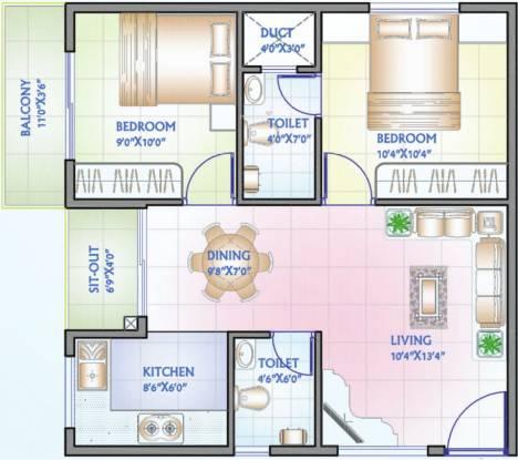 Aryan Fountain Square (2BHK+2T (779 sq ft) Apartment 779 sq ft)