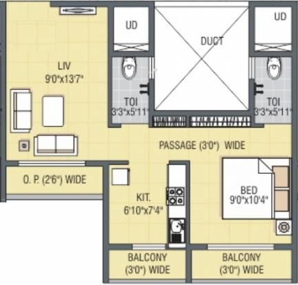 JP Harmony (1BHK+2T (606 sq ft) Apartment 606 sq ft)