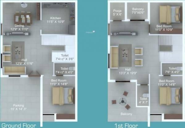 Sampada Sampada Homes (3BHK+3T (2,250 sq ft)   Pooja Room Villa 2250 sq ft)