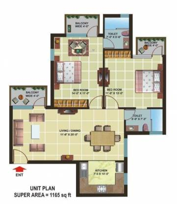 Omaxe Heights (2BHK+2T (1,165 sq ft) Apartment 1165 sq ft)
