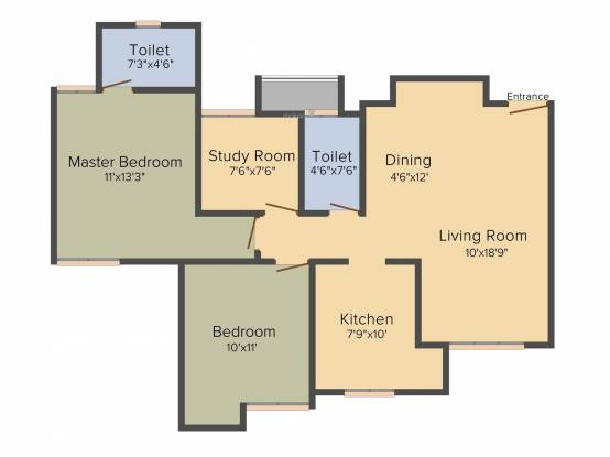 Dosti Vihar (2BHK+2T (1,256 sq ft) Apartment 1256 sq ft)