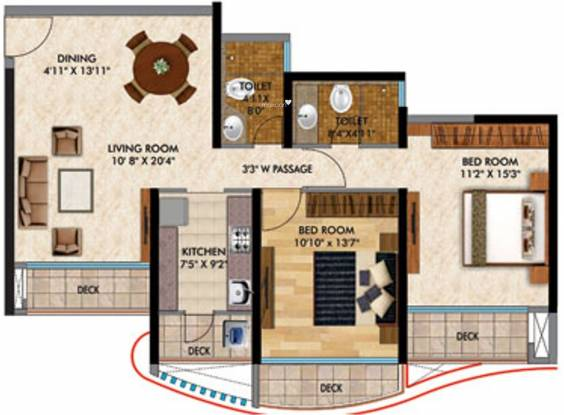 RNA Continental (2BHK+2T (1,205 sq ft) Apartment 1205 sq ft)