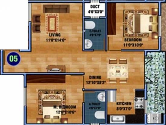 DS DSMAX STARWOOD (2BHK+2T (1,053 sq ft) Apartment 1053 sq ft)