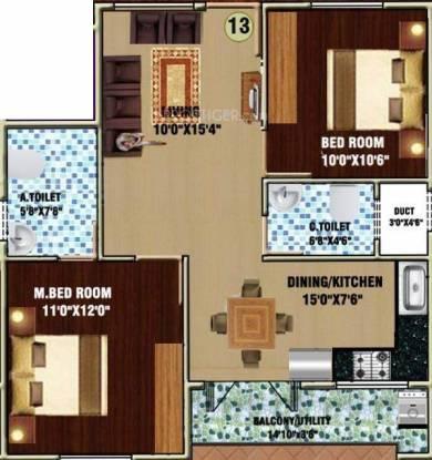 DS DSMAX SWASTIK (2BHK+2T (958 sq ft) Apartment 958 sq ft)