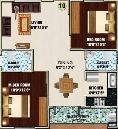 DS DSMAX SWASTIK (2BHK+2T (1,023 sq ft) Apartment 1023 sq ft)