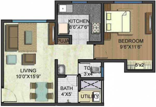 Lodha Casa Ultima (1BHK+1T (594 sq ft) Apartment 594 sq ft)