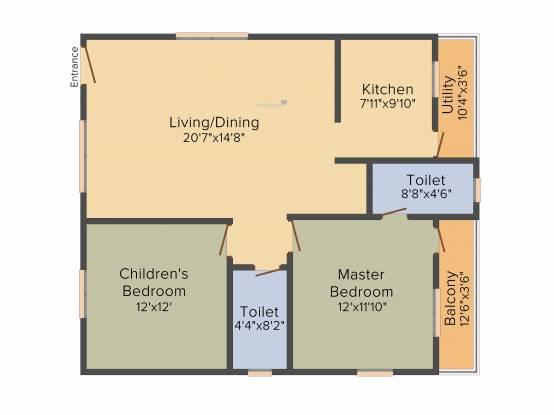 BM Serenity (2BHK+2T (1,143 sq ft) Apartment 1143 sq ft)