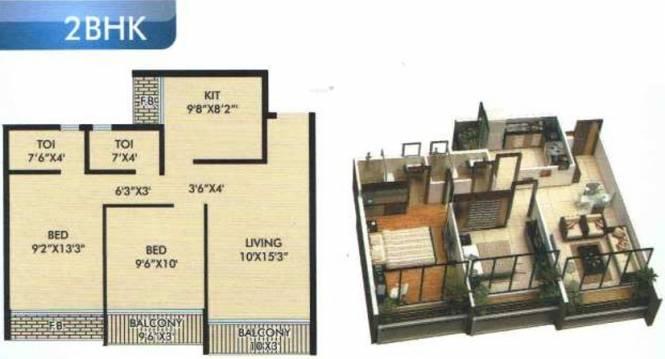 Omkar The Pearl (2BHK+2T (905 sq ft) Apartment 905 sq ft)
