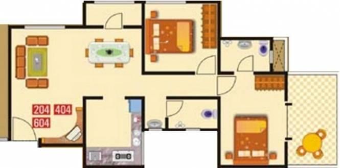 GK Flora Residency (2BHK+2T (1,021 sq ft) Apartment 1021 sq ft)