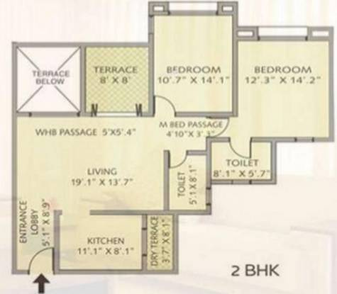 Pride Purple Park Royale (2BHK+2T (1,021 sq ft) Apartment 1021 sq ft)