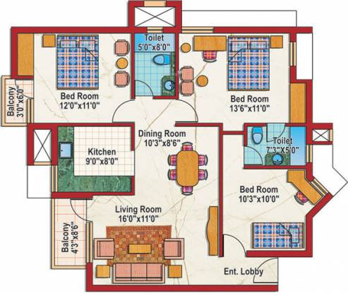 Purvanchal Silver City 2 (3BHK+2T (1,265 sq ft) Apartment 1265 sq ft)