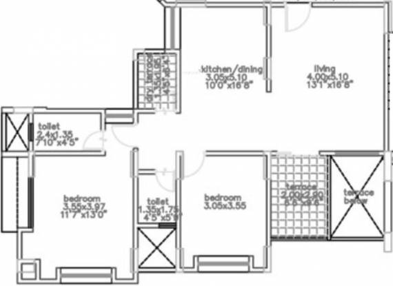 Bhandari Alacrity (2BHK+2T (1,083 sq ft) Apartment 1083 sq ft)