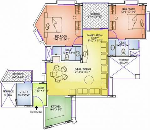 Geras Emerald City (2BHK+2T (1,242 sq ft) Apartment 1242 sq ft)