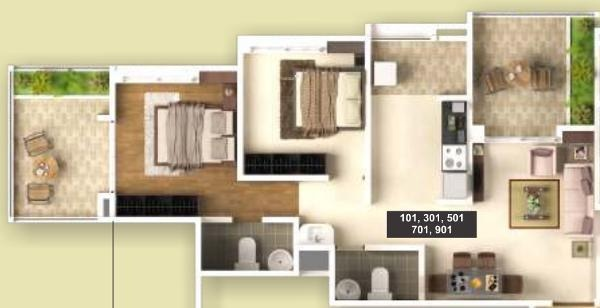 Maple Aura County (2BHK+2T (1,034 sq ft) Apartment 1034 sq ft)