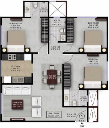 Lalani Grandeur (3BHK+3T (1,495 sq ft) Apartment 1495 sq ft)