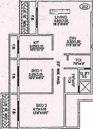 Asian Galaxy (2BHK+2T (1,178 sq ft) Apartment 1178 sq ft)