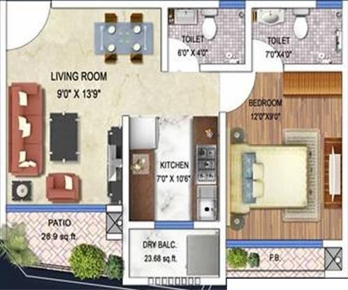 Arkade Art (1BHK+2T (655 sq ft) Apartment 655 sq ft)