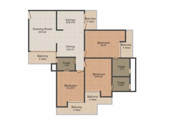 Keltech Golf Greens (3BHK+3T (1,725 sq ft) Apartment 1725 sq ft)
